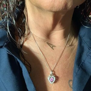 Jewelry - 925 sterling 10kt rose gold silver heart necklace